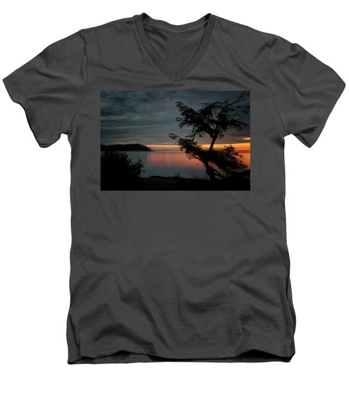 End Of The Trail Men's V-Neck T-Shirt by Randy Hall