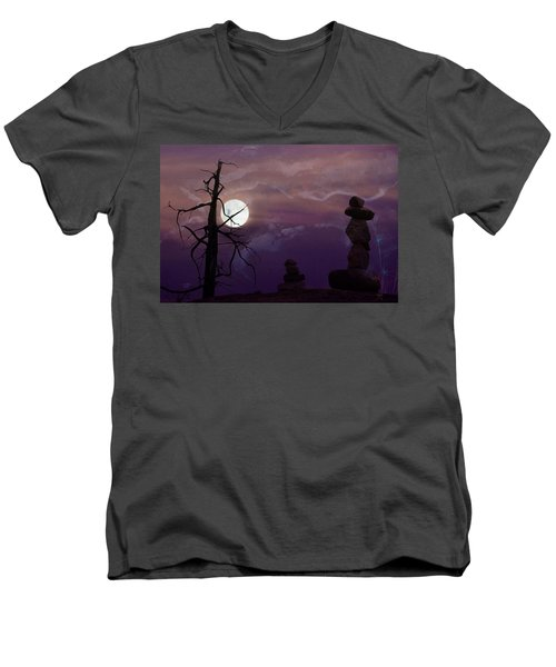 End Of Trail Men's V-Neck T-Shirt by Ed Hall