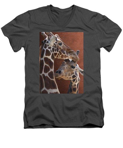 Endearing Giraffes Men's V-Neck T-Shirt