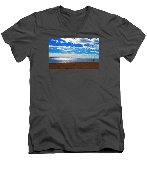 Men's V-Neck T-Shirt featuring the photograph Endless Sky by Valentino Visentini