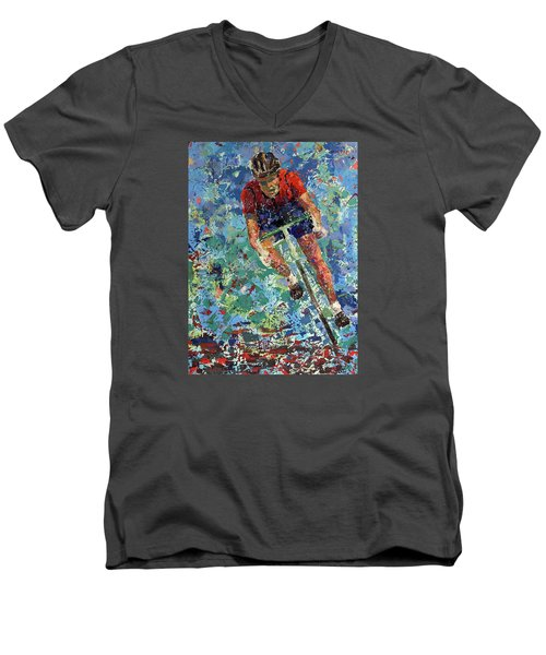 Enduring The Last Mile Men's V-Neck T-Shirt by Walter Fahmy