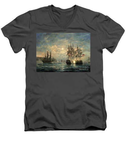 Engagement Between The 'bonhomme Richard' And The ' Serapis' Off Flamborough Head Men's V-Neck T-Shirt