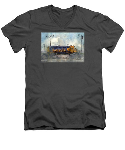 Men's V-Neck T-Shirt featuring the painting Engine 3166 by Tim Oliver