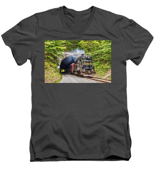 Engine 501 Coming Through The Brush Tunnel Men's V-Neck T-Shirt by Jeannette Hunt