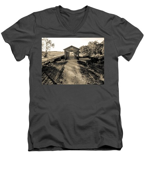 Engle Mill Covered Bridge Men's V-Neck T-Shirt