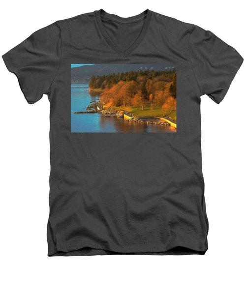English Bay At Golden Hr. Men's V-Neck T-Shirt