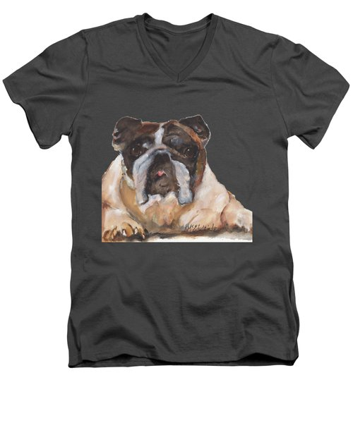 English Bulldog By Kmcelwaine Men's V-Neck T-Shirt