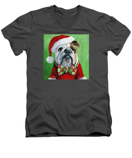 Holiday Cheer -english Bulldog Santa Dog Painting Men's V-Neck T-Shirt by Linda Apple