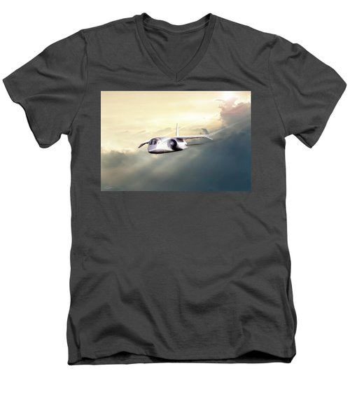 Men's V-Neck T-Shirt featuring the digital art English Enigma by Peter Chilelli