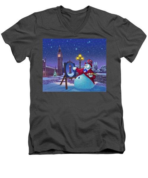 English Snowman Men's V-Neck T-Shirt