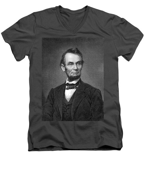 Engraving Of Portrait Of Abraham Lincoln From Brady Photograph Men's V-Neck T-Shirt by Phil Cardamone