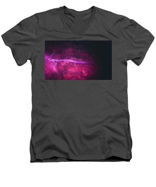Enigma - Purple Abstract Photography Men's V-Neck T-Shirt by Modern Art Prints