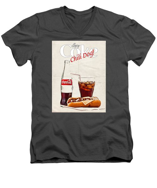 Enjoy Coca-cola With Chili Dog Men's V-Neck T-Shirt