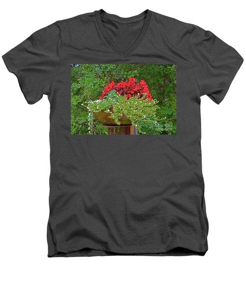 Enjoy The Garden Men's V-Neck T-Shirt by Ray Shrewsberry
