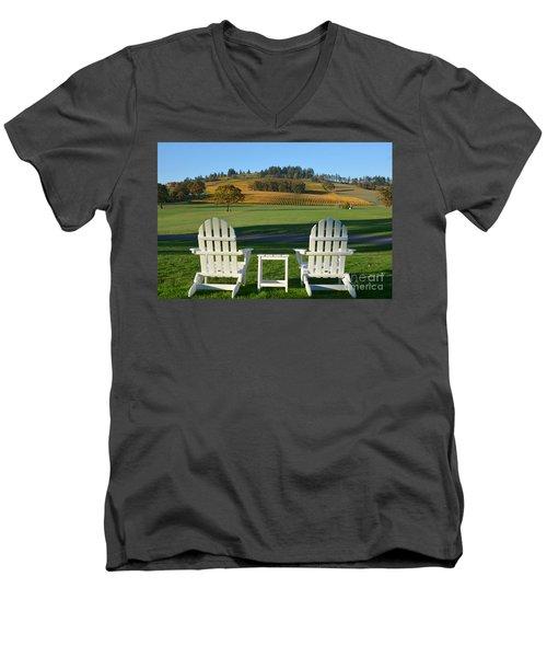 Enjoying Oregon Wine Country Men's V-Neck T-Shirt