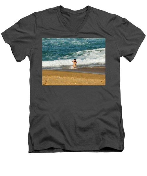 Enjoying The Ocean Men's V-Neck T-Shirt