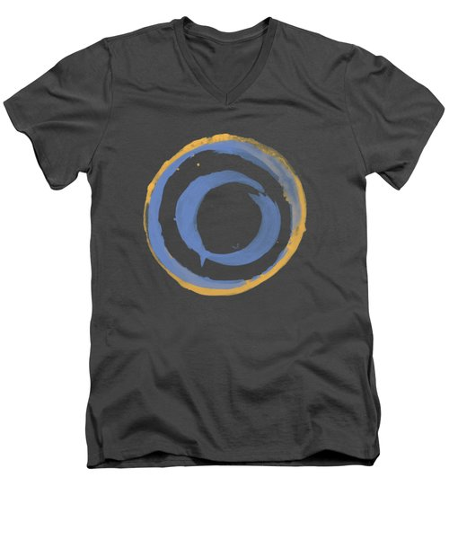 Men's V-Neck T-Shirt featuring the painting Enso T Blue Orange by Julie Niemela