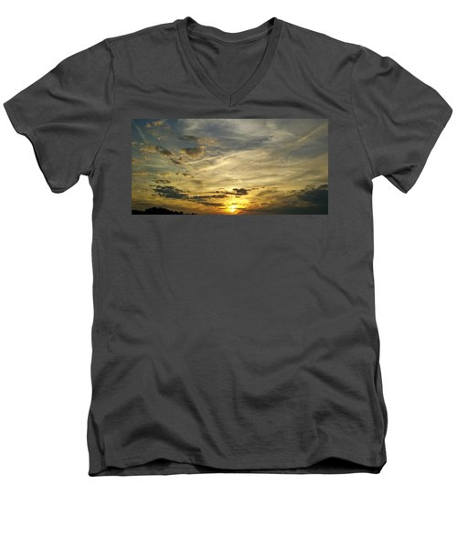 Men's V-Neck T-Shirt featuring the photograph Enter The Evening by Robert Knight