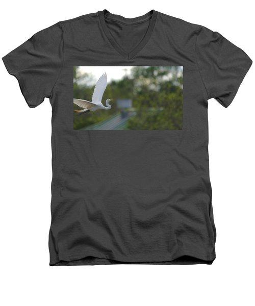 Enter The Great Egret 4 Digitalart Men's V-Neck T-Shirt