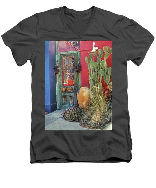 Enter - You Are Always Welcome Men's V-Neck T-Shirt by Lucinda Walter