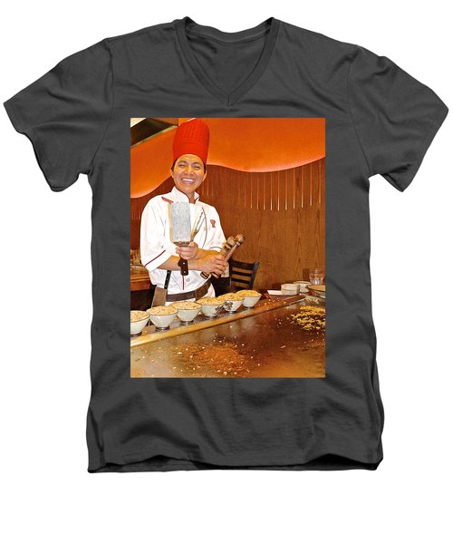 Entertaining Chef At Benihana In Monterey-california Men's V-Neck T-Shirt