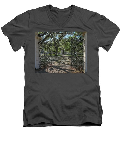 Men's V-Neck T-Shirt featuring the photograph Entrance Gate To Ul Alum House by Gregory Daley  PPSA