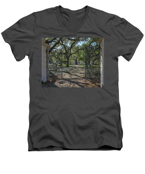 Entrance Gate To Ul Alum House Men's V-Neck T-Shirt