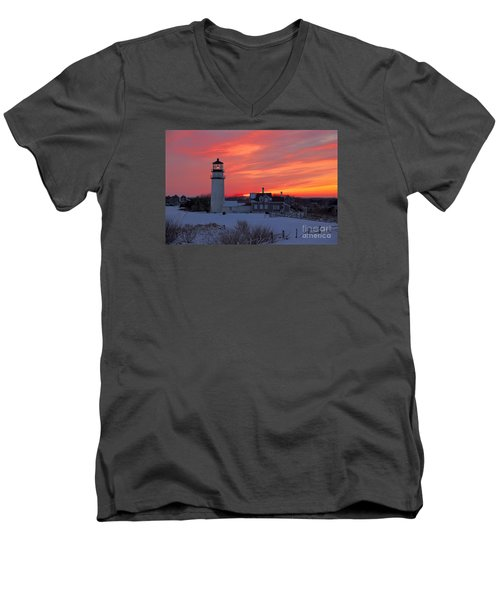 Epic Sunset At Highland Light Men's V-Neck T-Shirt by Amazing Jules