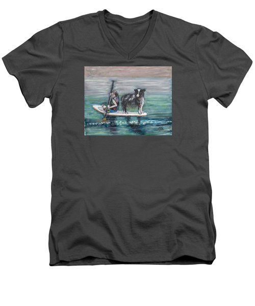 Erin And Oakie On The Paddle Board Men's V-Neck T-Shirt