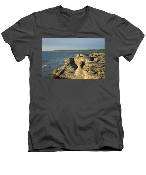 Men's V-Neck T-Shirt featuring the photograph Eroded Cliff Formations by Kennerth and Birgitta Kullman