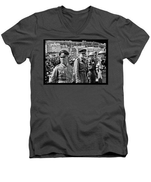 Erwin Rommel And Captured British Soldiers Tobruck Libya 1942 Color Added 2016  Men's V-Neck T-Shirt