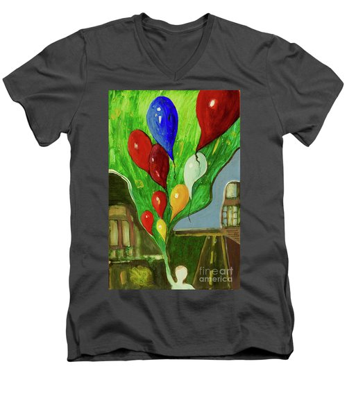 Men's V-Neck T-Shirt featuring the painting Escape by Paul McKey