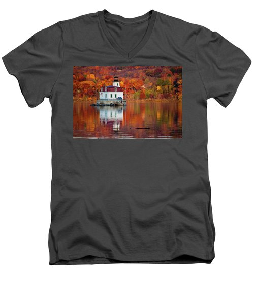 Esopus Lighthouse In Late Fall #2 Men's V-Neck T-Shirt by Jeff Severson