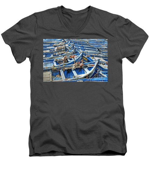 Essaouira Blue Fishing Boats Men's V-Neck T-Shirt