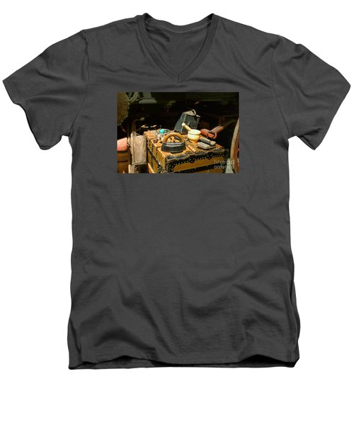 Essentials  From Covered Wagon Men's V-Neck T-Shirt by Linda Phelps