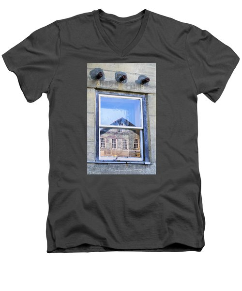 Men's V-Neck T-Shirt featuring the photograph Estey Window Reflection by Tom Singleton