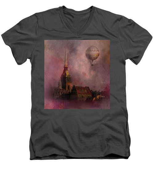 Men's V-Neck T-Shirt featuring the digital art Stockholm Church With Flying Balloon by Jeff Burgess