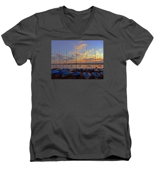 Men's V-Neck T-Shirt featuring the photograph Estuary Evening by Anne Kotan