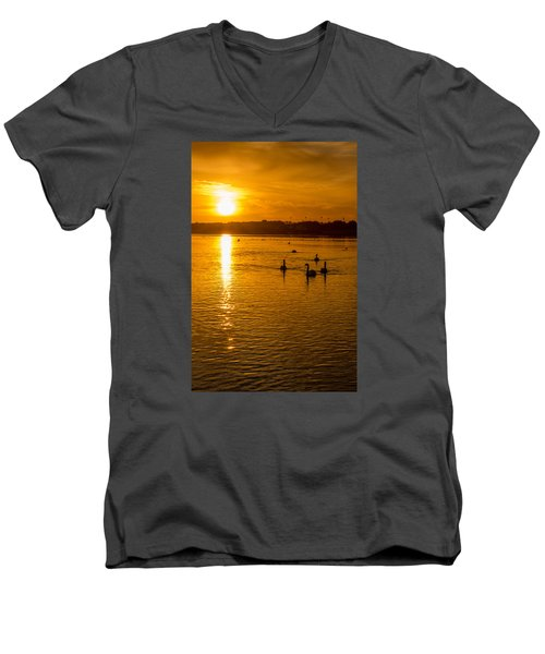 Estuary Sunset Men's V-Neck T-Shirt by Martina Fagan