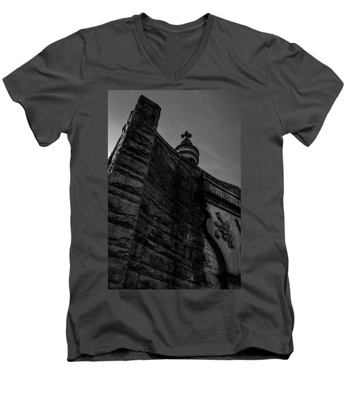 Eternal Stone Structure Bw Men's V-Neck T-Shirt