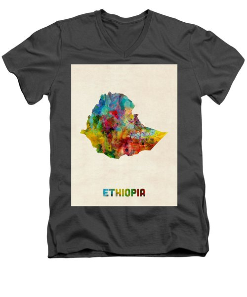 Men's V-Neck T-Shirt featuring the digital art Ethiopia Watercolor Map by Michael Tompsett