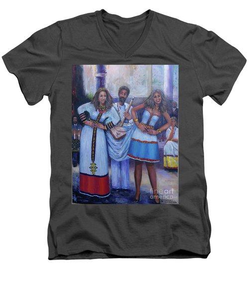 Ethiopian Ladies Shoulder Dancing Men's V-Neck T-Shirt