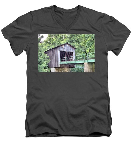 Euharlee Creek Covered Bridge Men's V-Neck T-Shirt