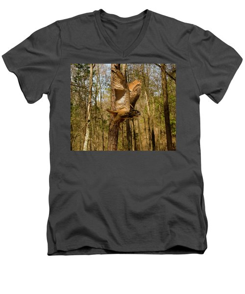 Eurasian Eagle Owl In Flight Men's V-Neck T-Shirt
