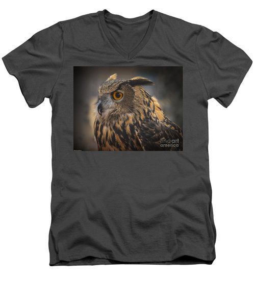 Men's V-Neck T-Shirt featuring the photograph Eurasian Eagle Owl Portrait 2 by Mitch Shindelbower