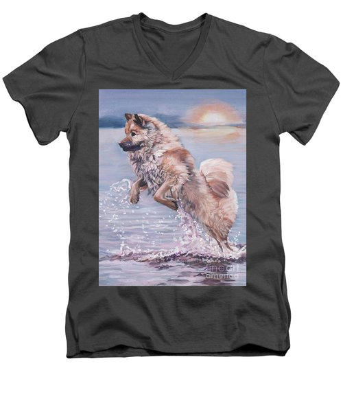 Men's V-Neck T-Shirt featuring the painting Eurasier In The Sea by Lee Ann Shepard