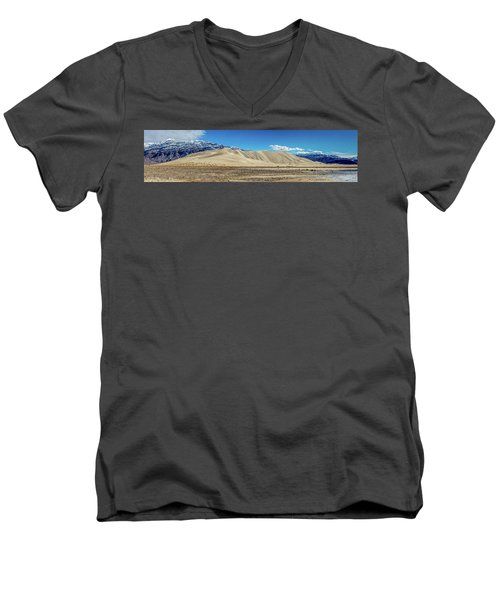 Men's V-Neck T-Shirt featuring the photograph Eureka Dunes - Death Valley by Peter Tellone