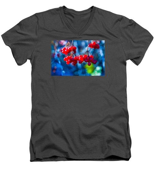 Men's V-Neck T-Shirt featuring the photograph European Cranberry Berries by Alexander Senin