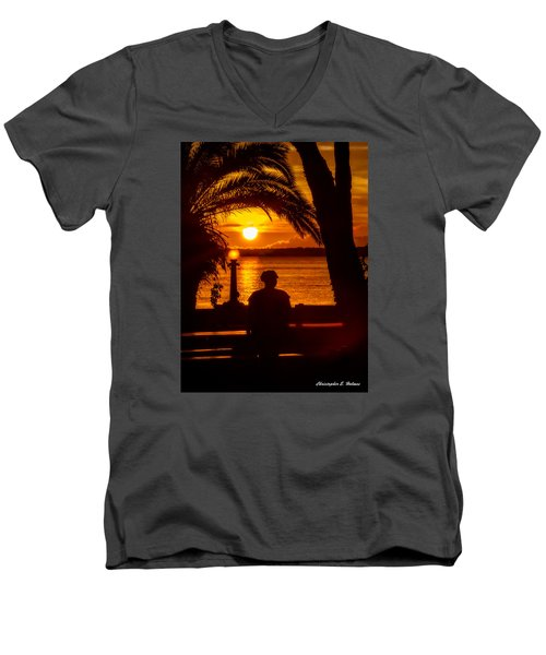 Men's V-Neck T-Shirt featuring the photograph Eustis Sunset by Christopher Holmes