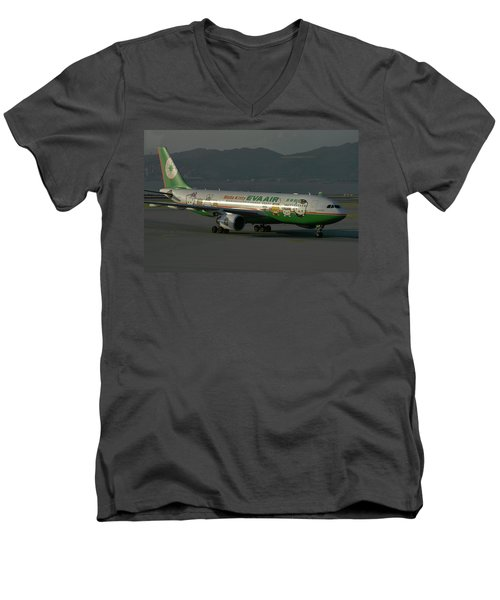 Eva Air Airbus A330-203 Men's V-Neck T-Shirt by Tim Beach